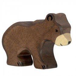 Animaux en bois petit ours brun figurine Holztiger