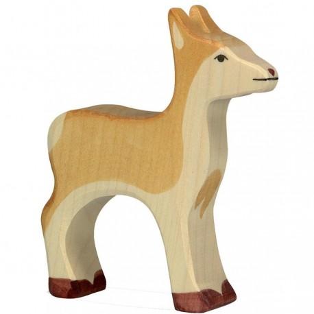 Animaux en bois biche figurine Holztiger