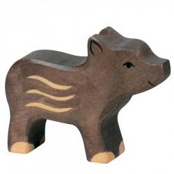 Animaux en bois marcassins figurine Holztiger