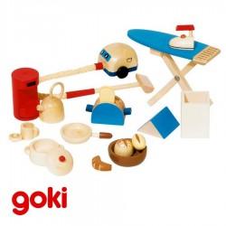 jouets en bois Accessoires cuisine 19 pcs pour maison de poupées