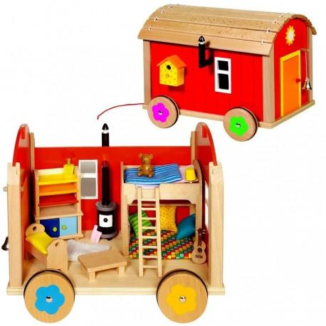 Roulotte jouet en bois avec 23 accéssoires