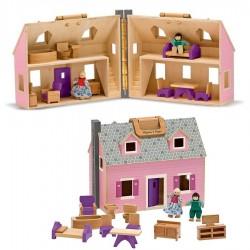 """Maison de poupée en bois - maison """"valise"""" et ses accessoires"""