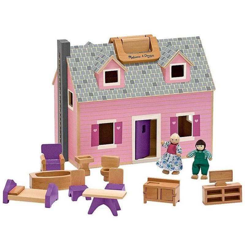 maison de poup e en bois massif avec accessoires. Black Bedroom Furniture Sets. Home Design Ideas