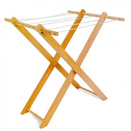 Jouet en bois Etendoir à linge en bois pour jouer à la poupée