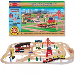 Grand circuit de train en bois