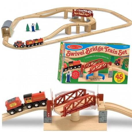 Circuit de train en bois avec pont tournant