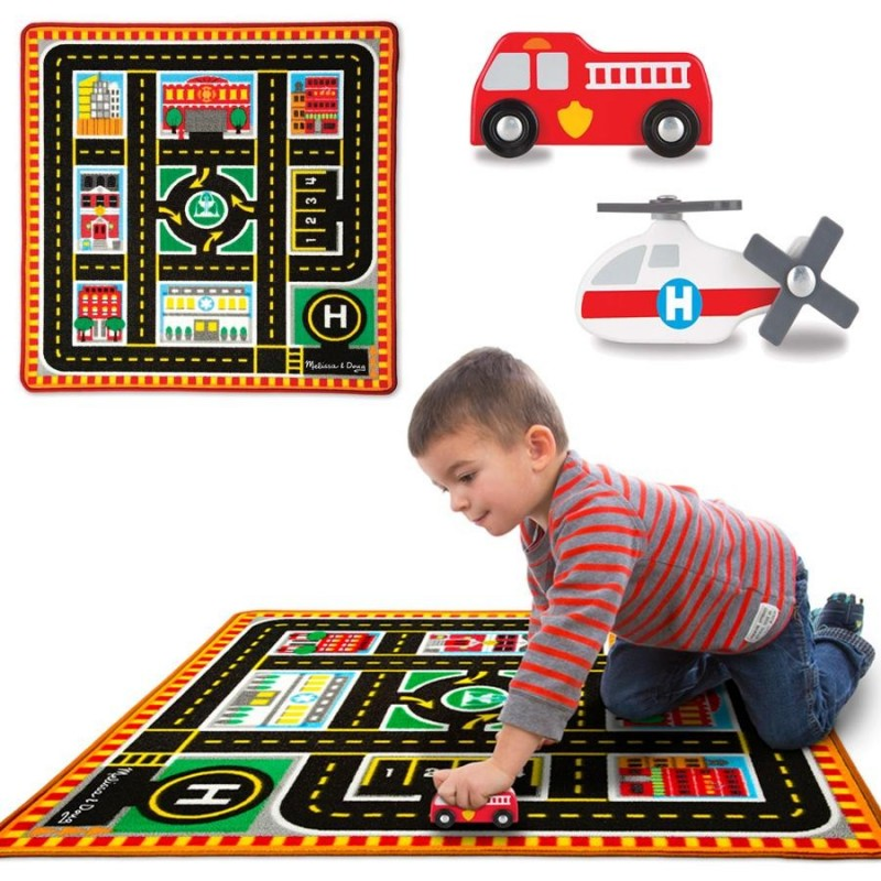 tapis de jeu circuit de voiture 4 v hicules les secours 100 x 91 cm pour chambre d 39 enfant. Black Bedroom Furniture Sets. Home Design Ideas