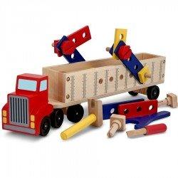Camion jeu de construction en bois