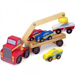 Camion Chargeur de voitures aimantées en bois