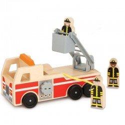 Camion de pompier jouet en bois