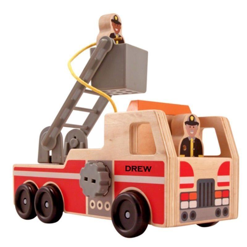 camion de pompier jouet en bois 4 pi ces pour enfants. Black Bedroom Furniture Sets. Home Design Ideas