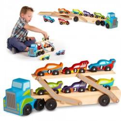 Jouet camion en bois chargeur 6 voitures