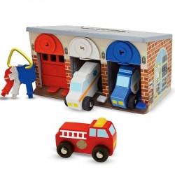 Jouet garage en bois avec clés et 3 véhicules