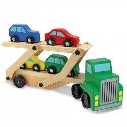 Camion en bois jouet - transport de voitures