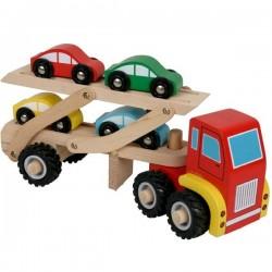 Camion en bois jouet camion de transport de voitures Enfants 3 ans+