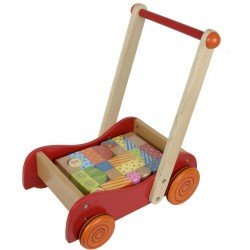 Chariot de marche bébé avec cubes en bois