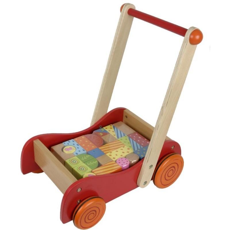 chariot de marche b b avec cubes en bois. Black Bedroom Furniture Sets. Home Design Ideas