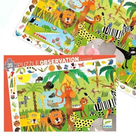 Puzzle Djeco Observation Les Animaux de la Jungle  35 pcs 3 ans +