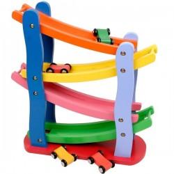 Circuit de 4 voitures Jouet en bois coloré Jouet d'éveil enfants