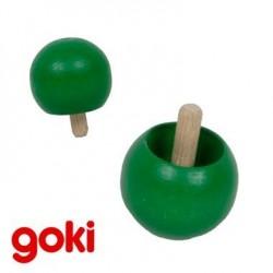 Toupie boule en bois vert qui se retourne ! Jouet enfant 4 ans +