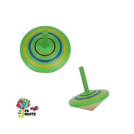 Jouet Toupie en bois Vert Diamètre 5 cm Enfant 3 ans +