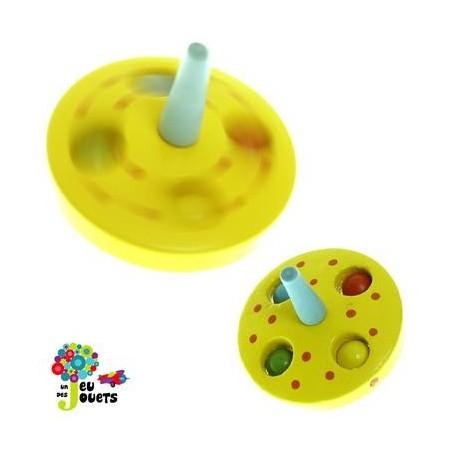 Toupie billes Jaune Jouet en bois Diamètre 5 cm pour enfant 3 ans +