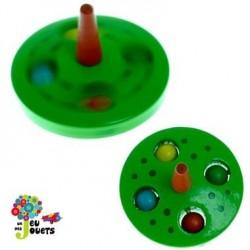 Toupie billes Vert Jouet en bois Diamètre 5 cm pour enfant 3 ans