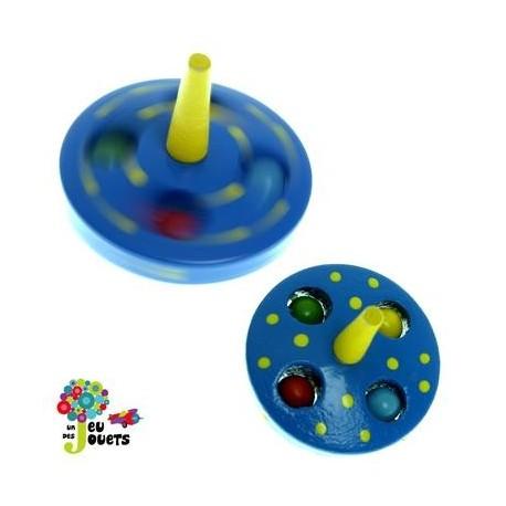 Toupie billes Bleue Jouet en bois Diamètre 5 cm pour enfant 3 ans +