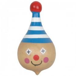 Toupie en bois tete de clown 3 x 5