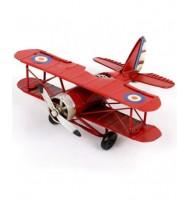 Petit avion décoration métal rouge