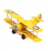 Avion de décoration tôle jaune