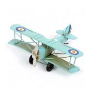 Avion décoratif vintage métal bleu clair