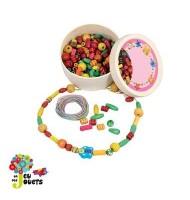 Boîte de perles en bois à enfiler pour enfant fille 4 ans et +