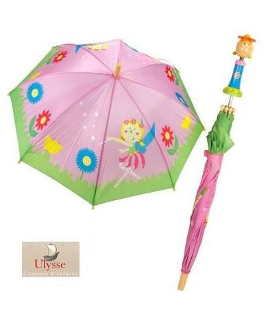 Parapluie princesse 70 cm manche en bois Cran d'arrêt enfant