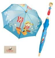 Parapluie pirate 70 cm manche en bois Cran d'arrêt enfant