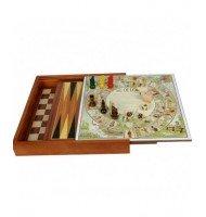 Coffret Multi-Jeux 2 plateaux Échec / Backgammon Oie / Parchis