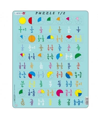 Puzzle éducatif Apprendre les fractions 35 pcs Larsen Mathématique