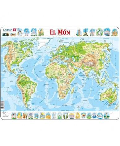 Puzzle Apprendre Le monde en Catalan El Mon Fisic 80 pcs Larsen