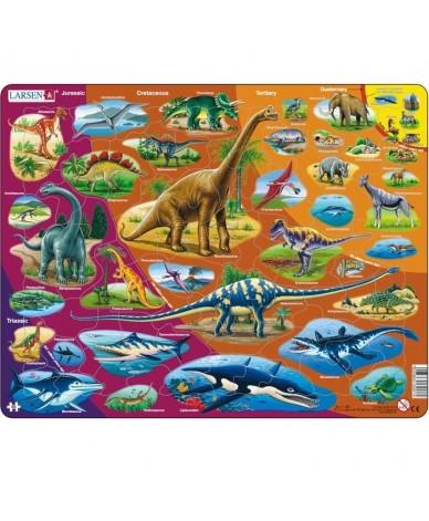 Puzzle éducatif l'Histoire des Dinosaures en CATALAN 85 pièces Larsen