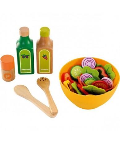 Hape Cuisine Set de salade jouet en bois enfant 3 ans + dînette