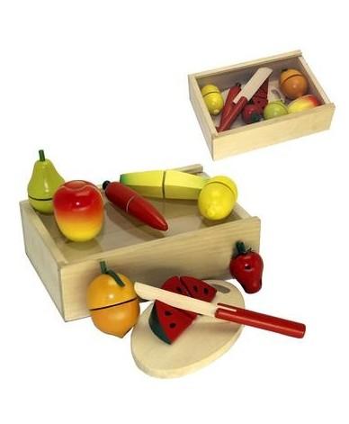 coffret fruits d couper jouet en bois d nette enfants 18. Black Bedroom Furniture Sets. Home Design Ideas