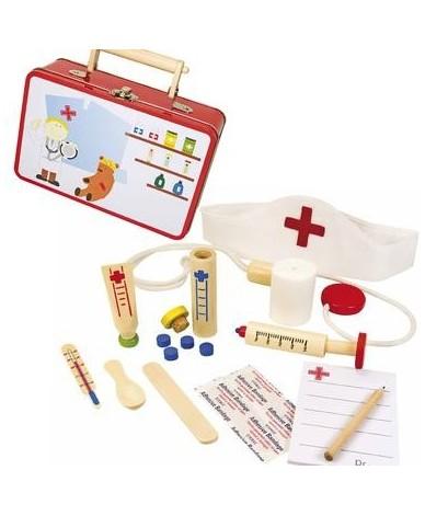 Déguisement Enfant Mallette Infirmière jouet en bois 3 ans +