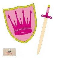 Épée 57 cm + Bouclier 34 cm en bois Déguisement pour Enfant