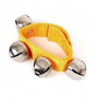 Bracelet souple en tissu avec velcro 4 grelots jouet musical