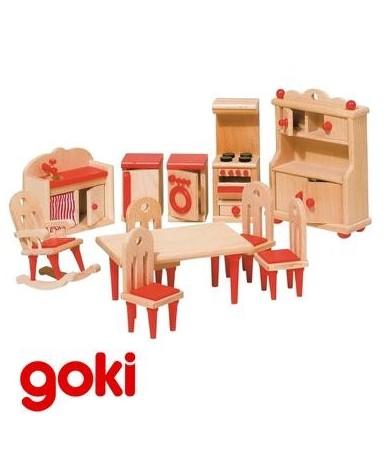Cuisine meubles maison de poupées 10 pcs en bois Enfant 3 ans +