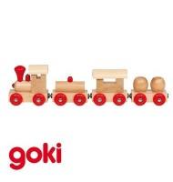 Petit train en bois 25 cm avec 3 wagons aimantés Jouet en bois