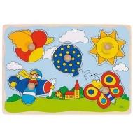 Puzzle premier age à boutons Jouet en Bois 5 pcs Enfant 1 an +