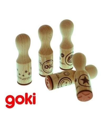Set 5 tampons Jeu jouet en bois Loisirs créatif Enfant 3 ans +