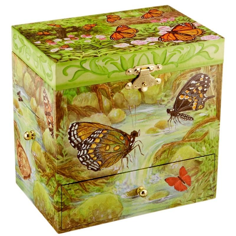 boite bijoux musicale pour enfants papillons. Black Bedroom Furniture Sets. Home Design Ideas