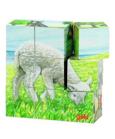 Puzzle cubes en bois Animaux de la ferme